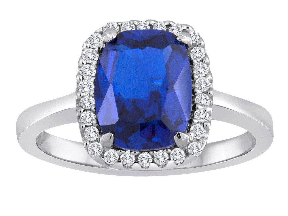 Star K Cushion Cut Simulated Sapphire Halo Ring