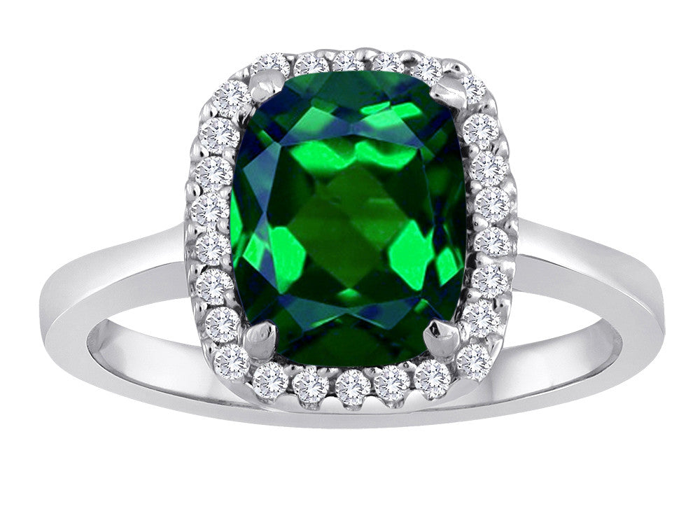 Star K Cushion Cut Simulated Emerald Halo Ring