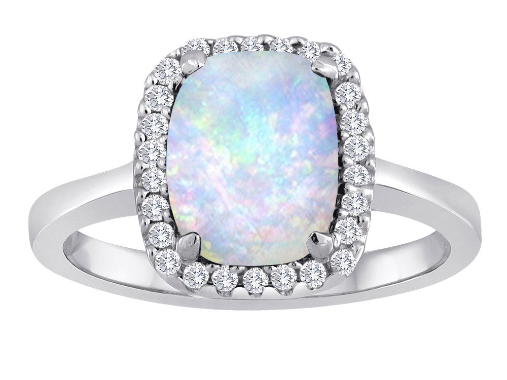 Star K Cushion Cut Simulated Opal Halo Ring