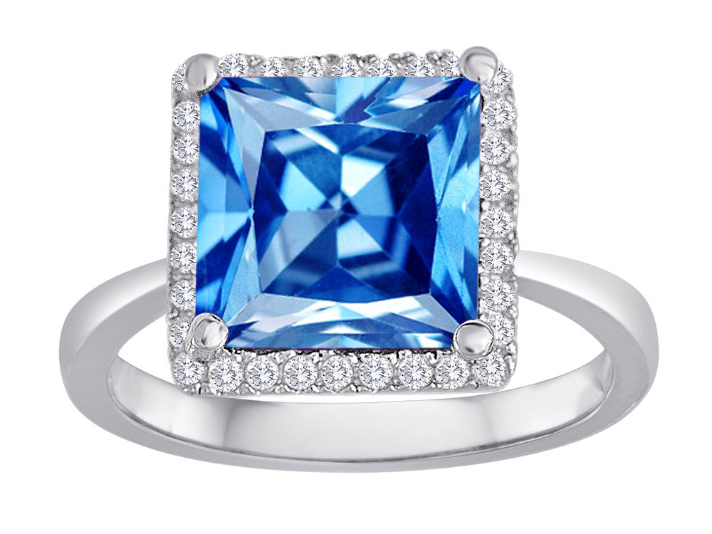 Star K Square Cut Simulated Blue Topaz Halo Ring