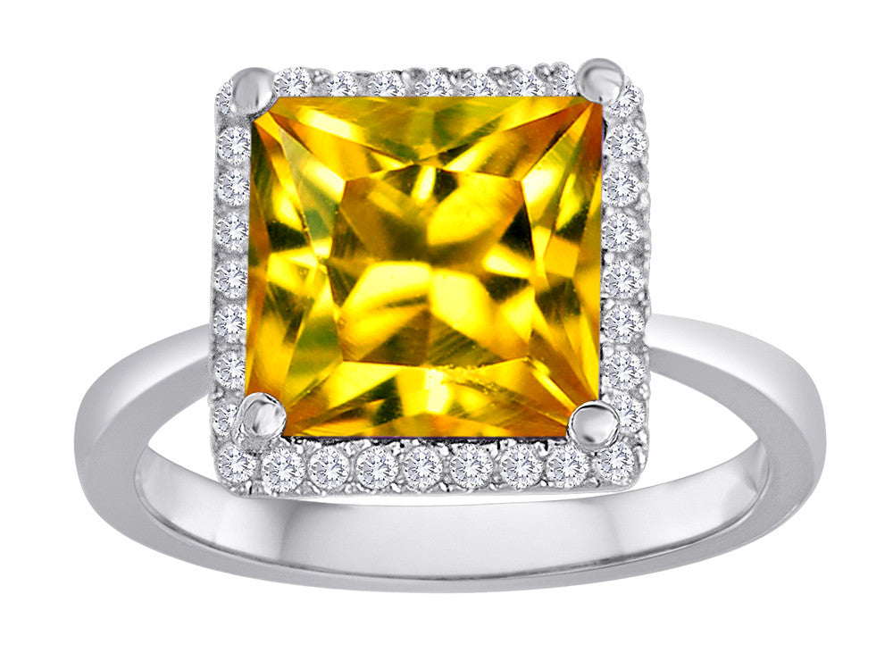 Star K Square Cut Simulated Citrine Halo Ring