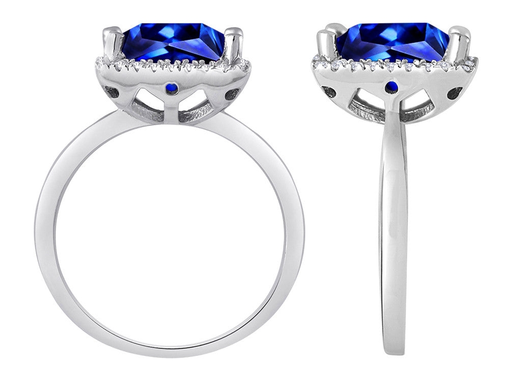 Star K Square Cut Simulated Sapphire Halo Ring
