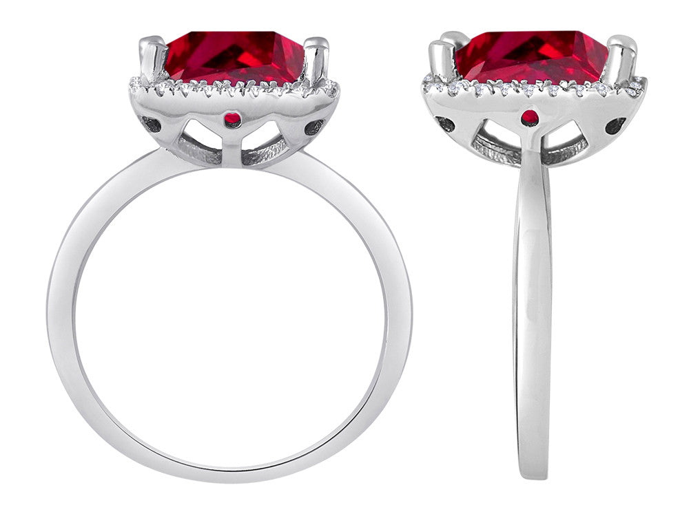 Star K Square Cut Created Ruby Halo Ring