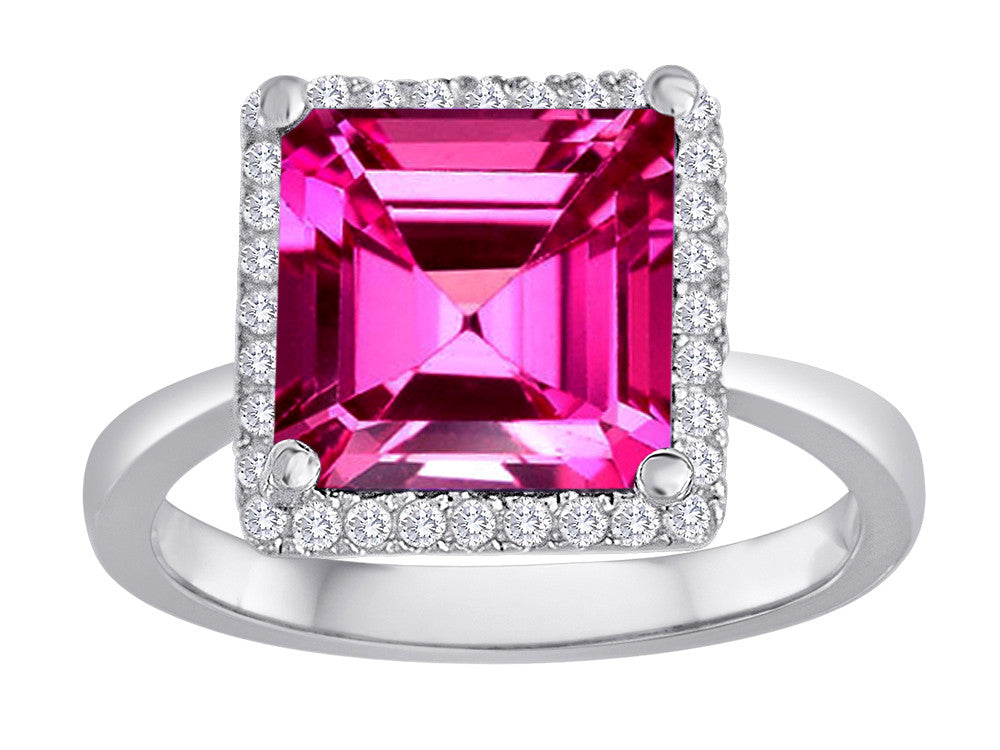 Star K Square Cut Created Pink Sapphire Halo Ring