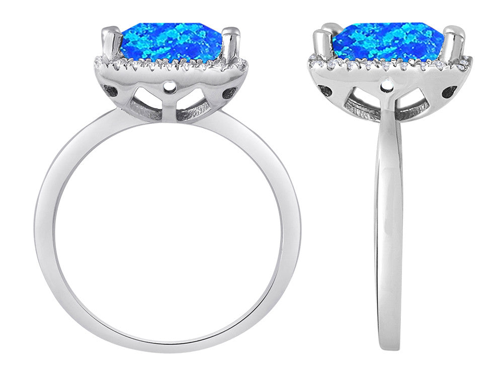 Star K Square Cut Simulated Blue Opal Halo Ring