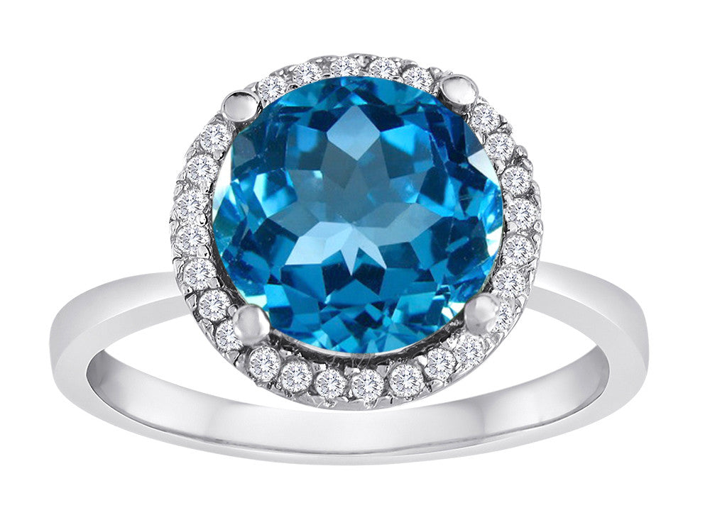 Star K Round Simulated Blue Topaz Halo Ring
