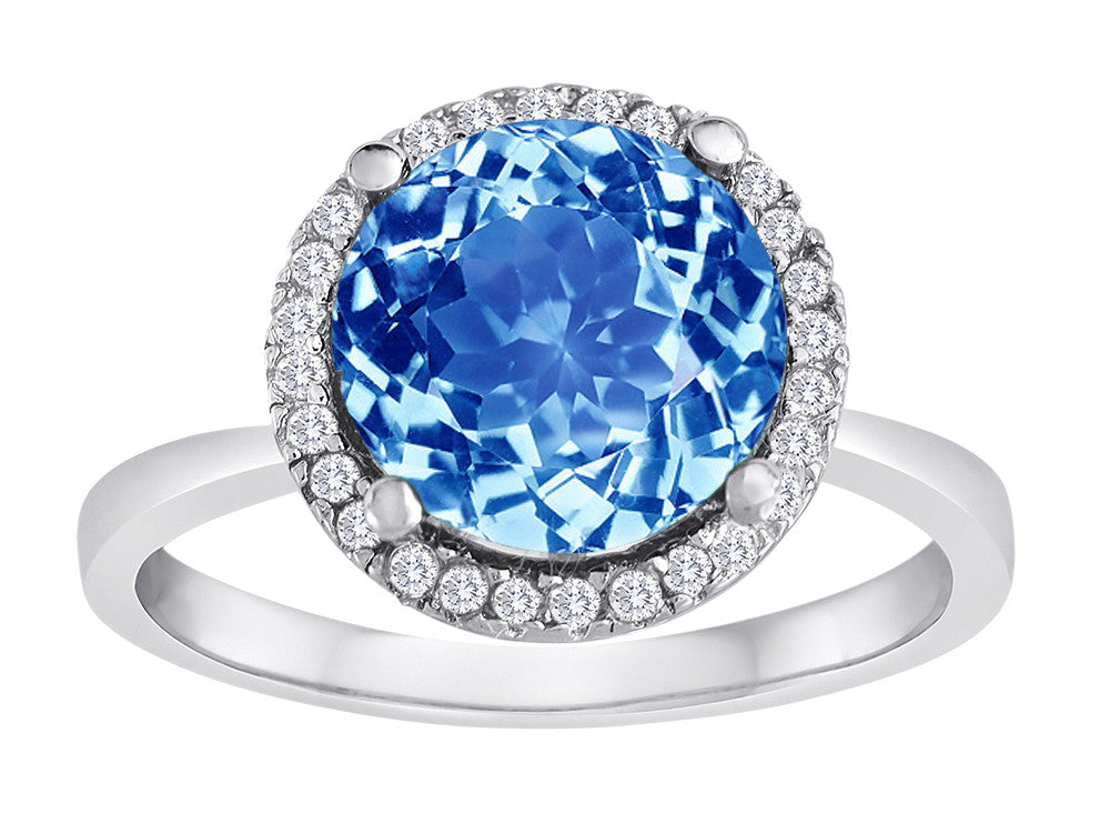 Star K Round Simulated Aquamarine Halo Ring