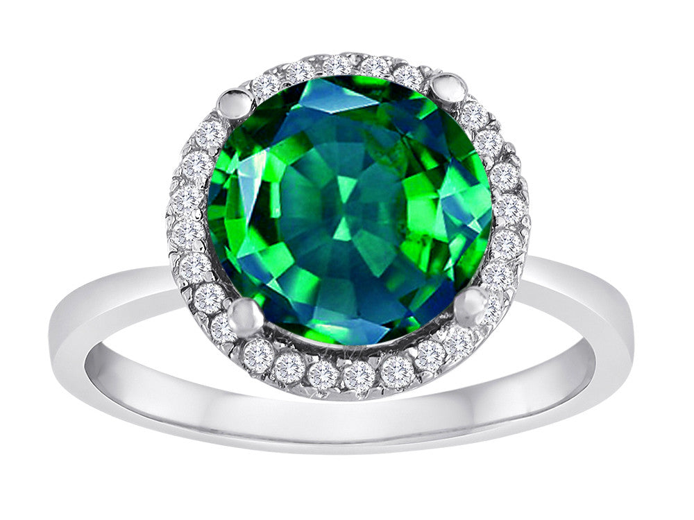 Star K Round Simulated Emerald Halo Ring