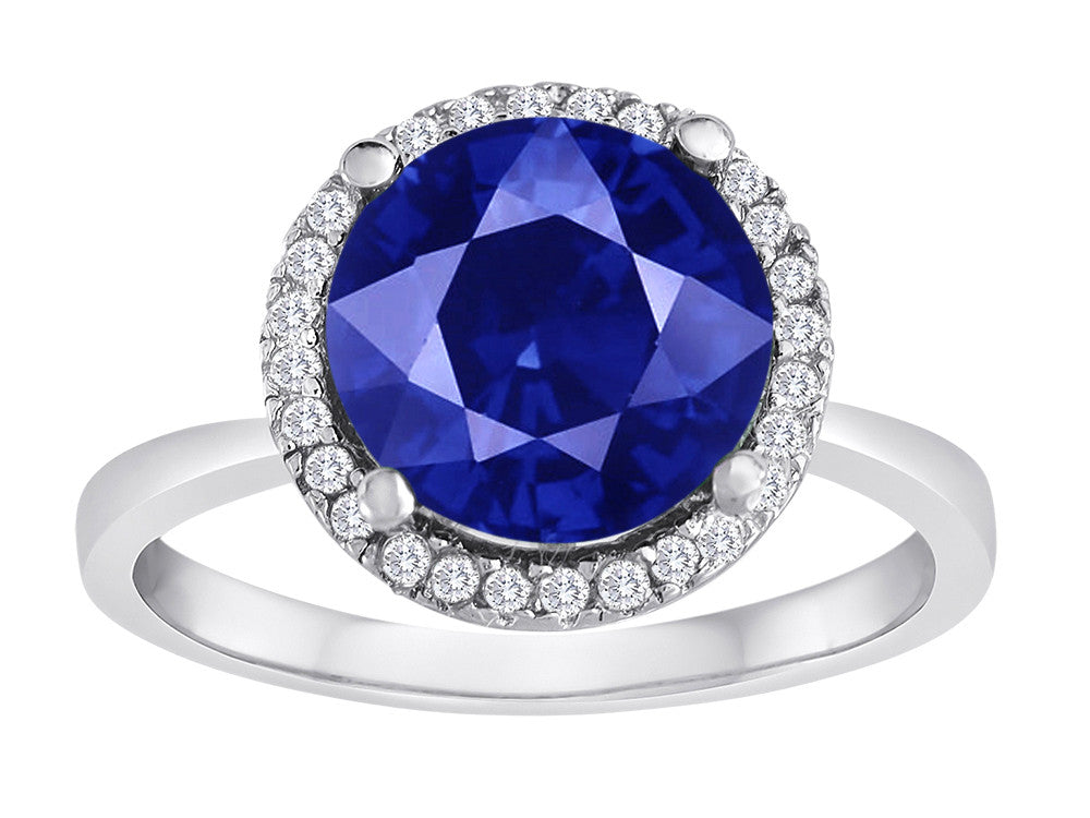 Star K Round Simulated Sapphire Halo Ring