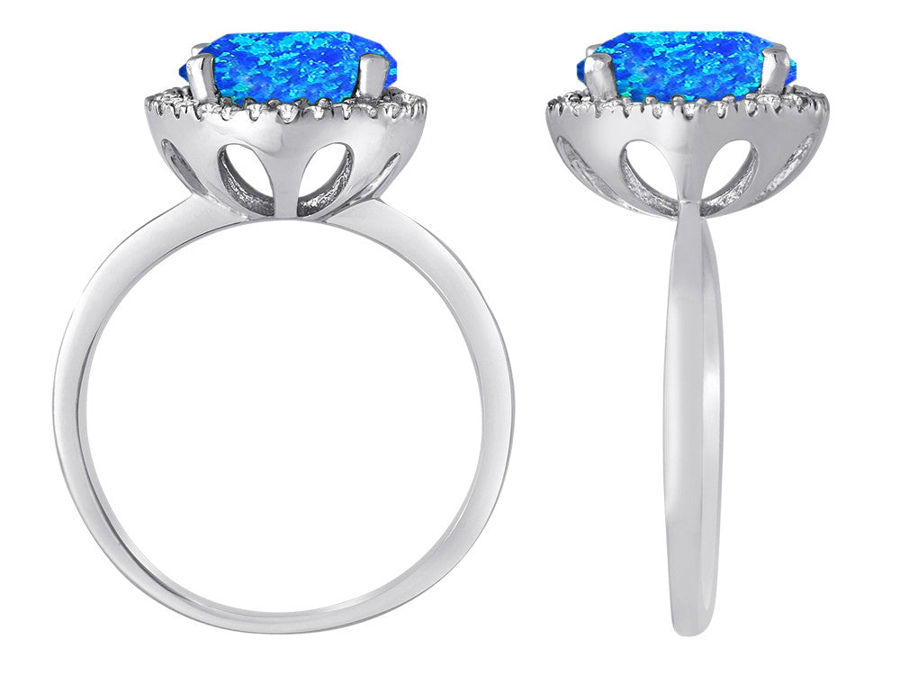Star K Round Simulated Blue Opal Halo Ring
