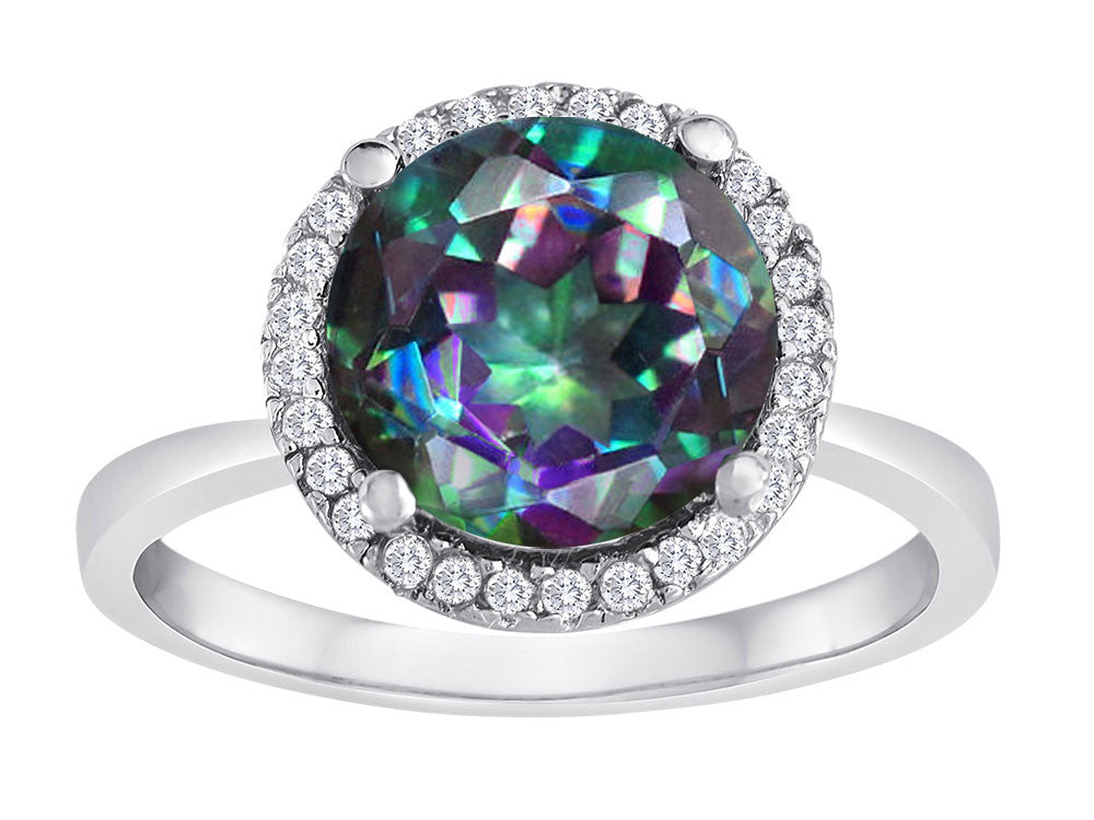 Star K Round Rainbow Mystic Topaz Halo Ring