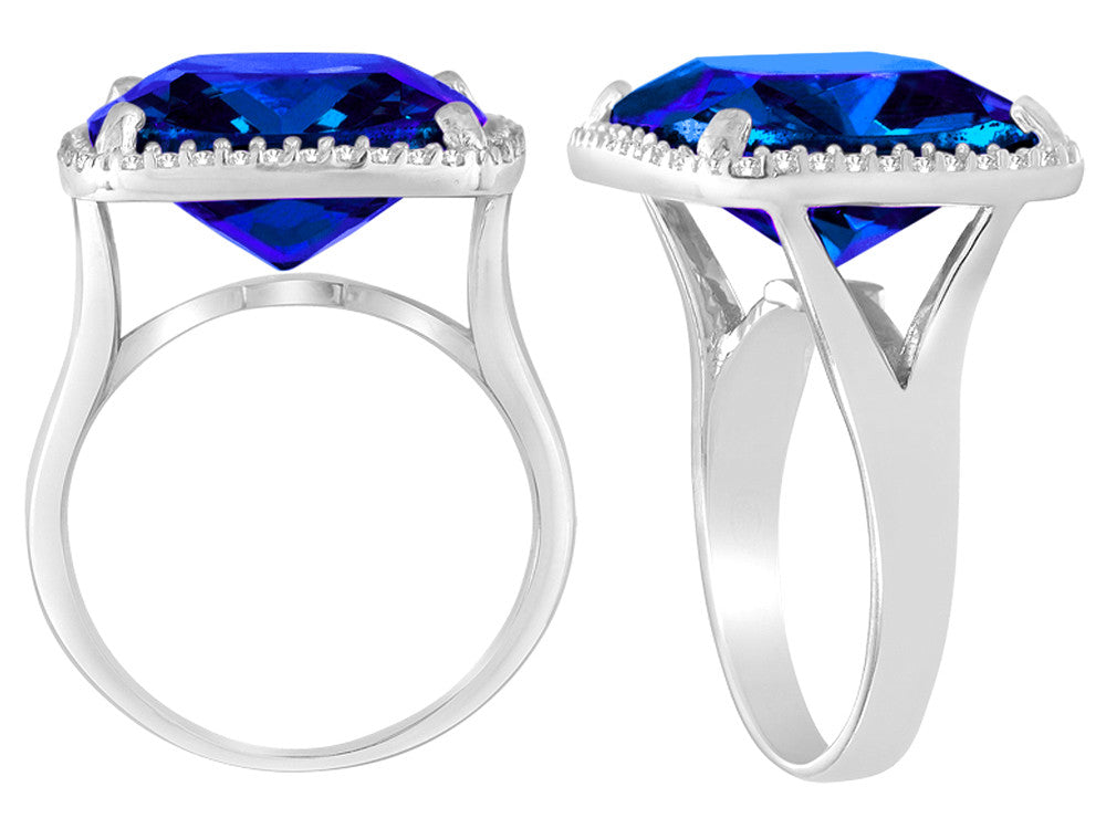 Star K Large Cushion Cut Simulated Sapphire Halo Ring