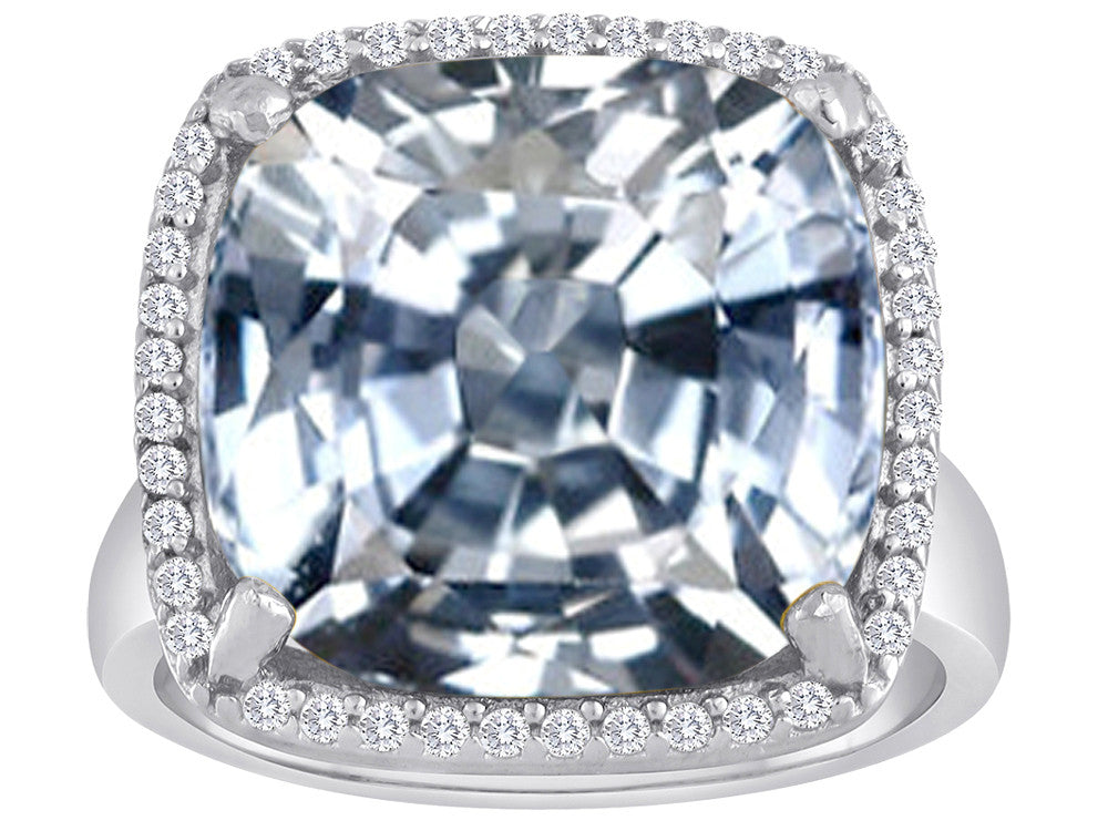 Star K Large Cushion Cut Simulated White Topaz Halo Ring