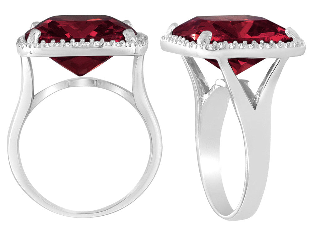 Star K Large Cushion Cut Simulated Garnet Halo Ring