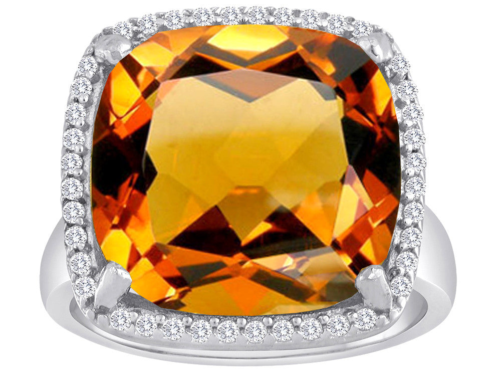 Star K Large Cushion Cut Simulated Imperial Yellow Topaz Halo Ring