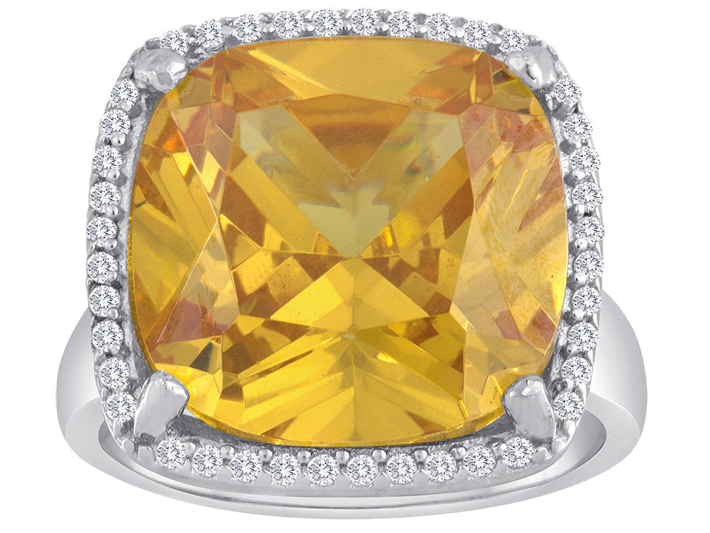 Star K Large Cushion Cut Simulated Citrine Halo Ring