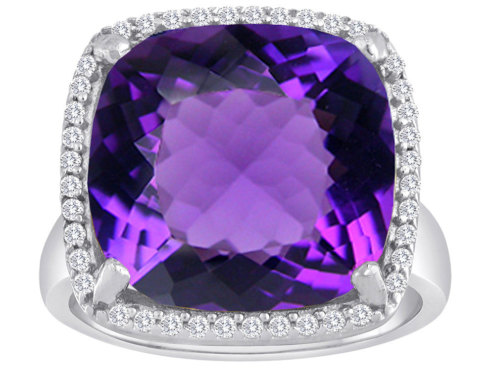 Star K Large Cushion Cut Simulated Amethyst Halo Ring