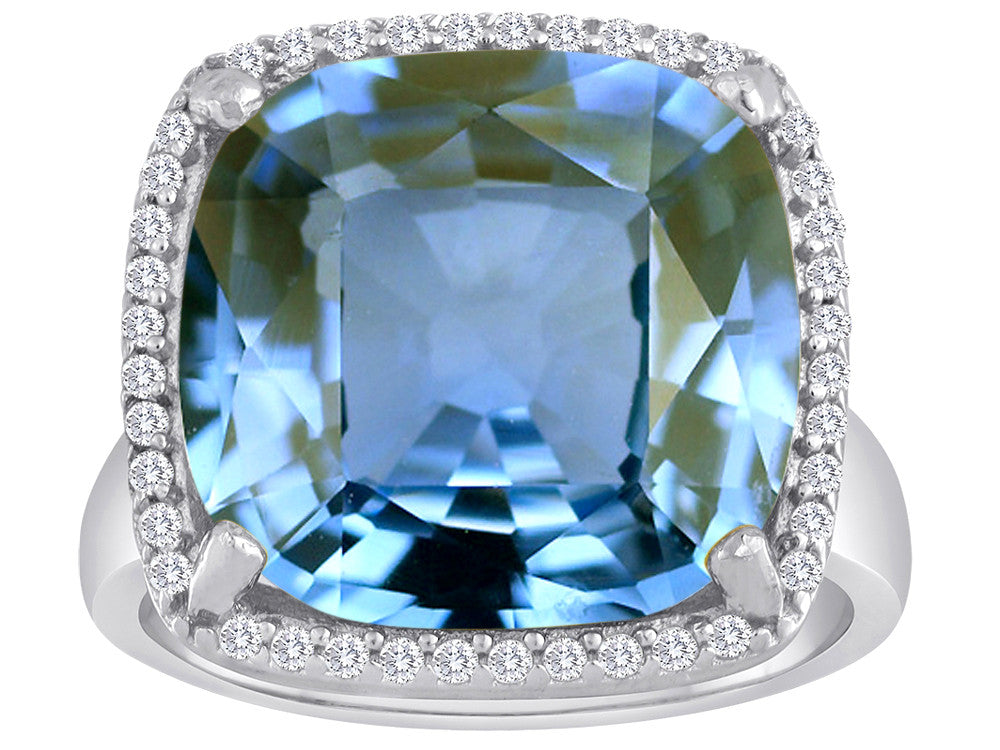 Star K Large Cushion Cut Simulated Aquamarine Halo Ring