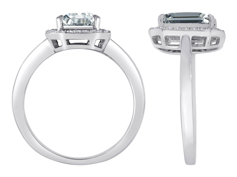 Star K Emerald Cut White Topaz Halo Ring