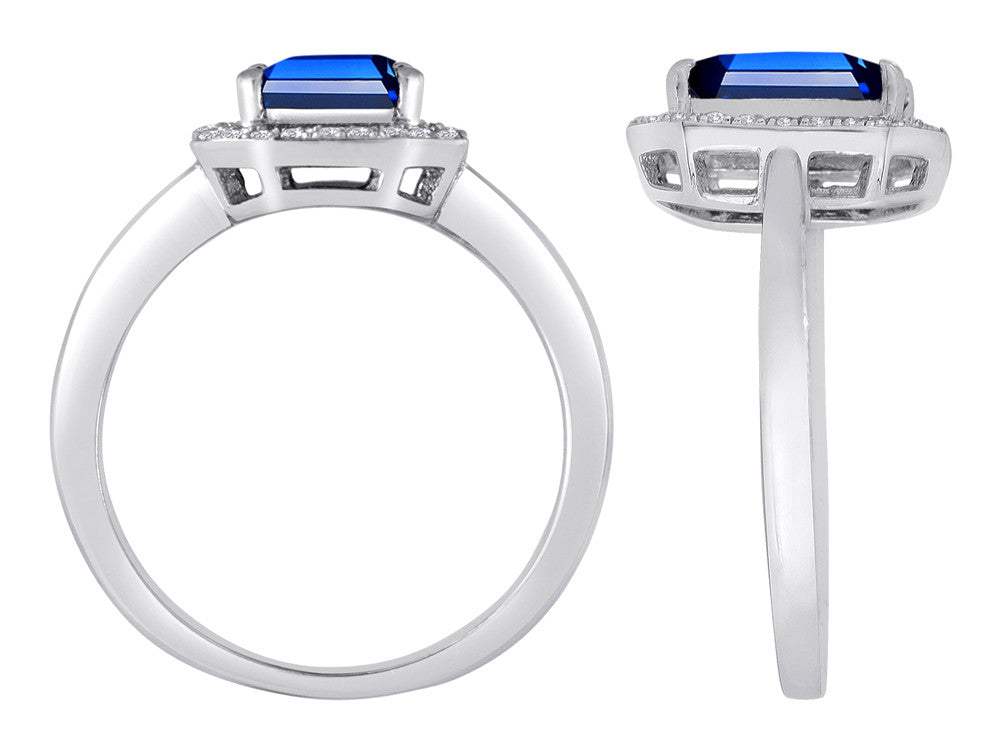 Star K Emerald Cut Created Sapphire Halo Ring