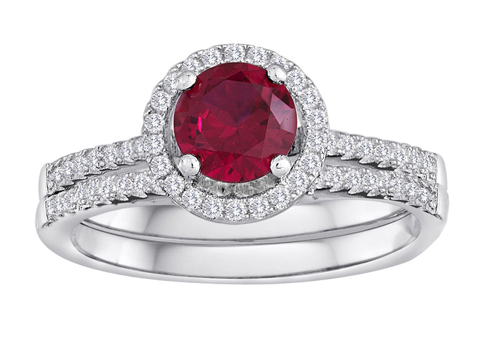 Star K Round Created Ruby Halo Wedding Set