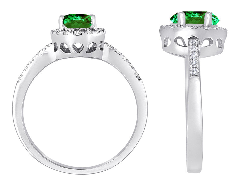 Star K Oval Simulated Emerald Halo Ring