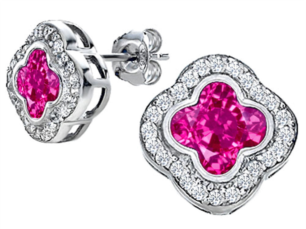 Star K Clover Earrings Studs with 8mm Clover Cut Created Pink Sapphire