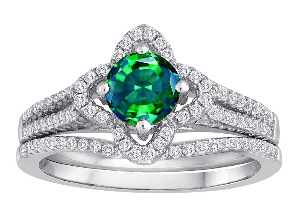 Star K Round Simulated Emerald Halo Wedding Set