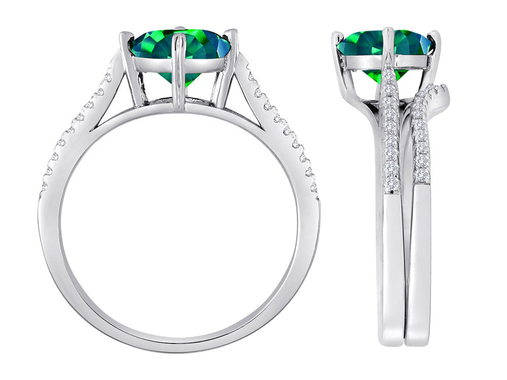 Star K Round Simulated Emerald Wedding Set