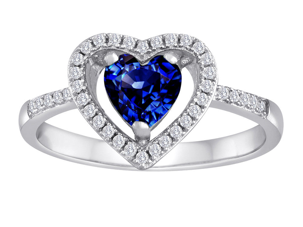 Star K Heart Shape Created Sapphire Halo Ring