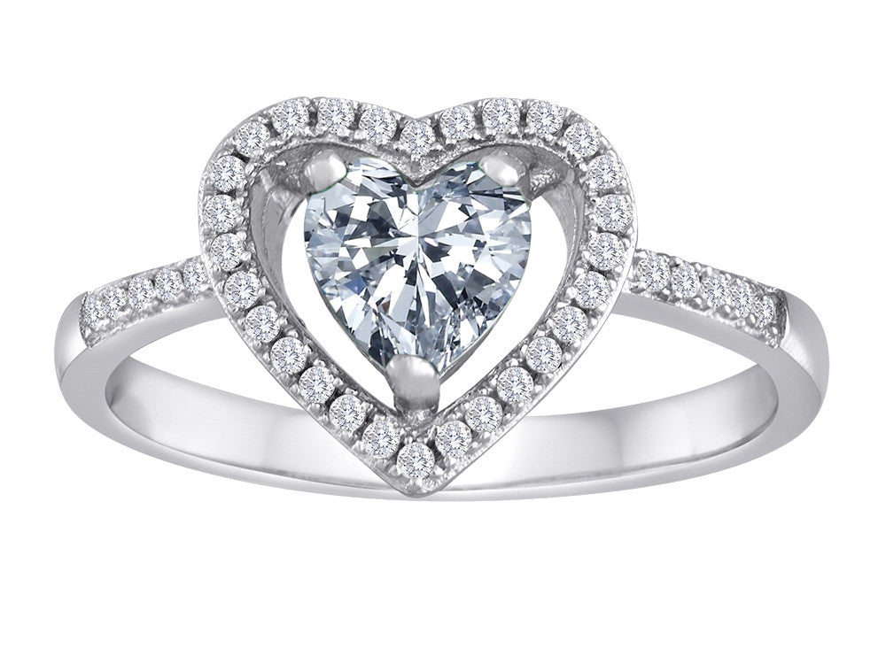 Star K Heart Shape White Topaz Halo Ring