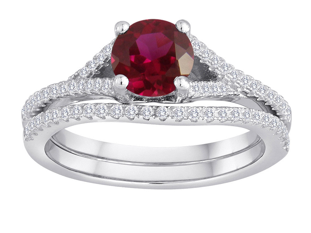 Star K Round Created Ruby Wedding Set