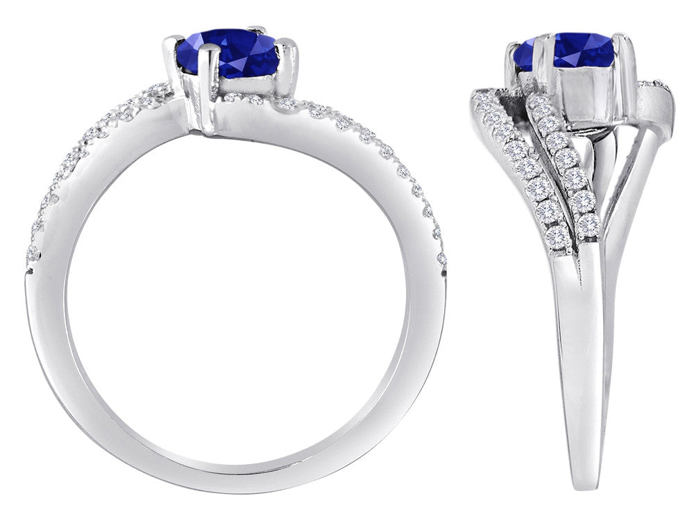 Star K Round Created Sapphire Bypass Wedding Ring