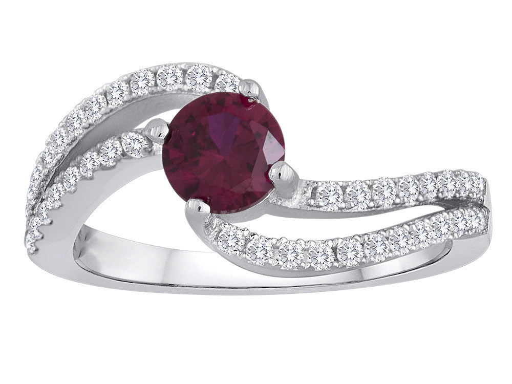 Star K Round Created Ruby Bypass Wedding Ring