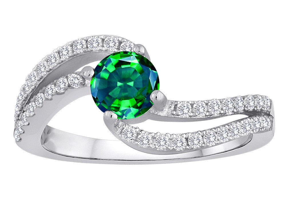 Star K Round Simulated Emerald Bypass Wedding Ring