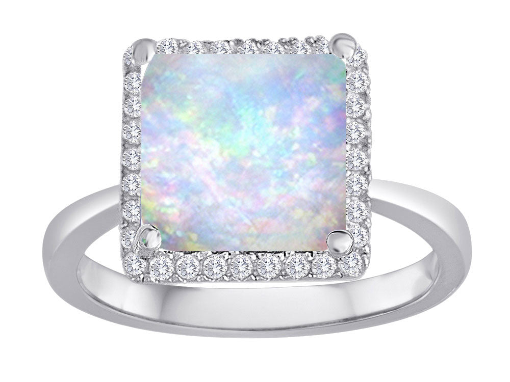 Star K Square Cut Simulated Opal Halo Ring