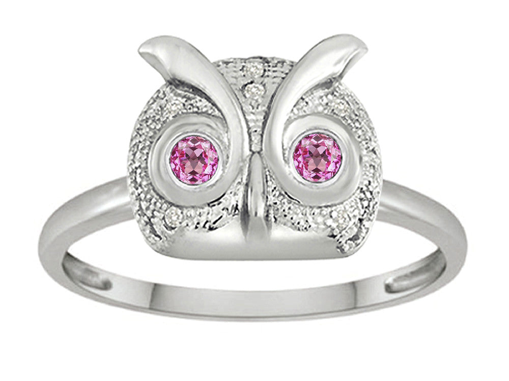 Star K Round Created Pink Sapphire Good Luck Owl Ring
