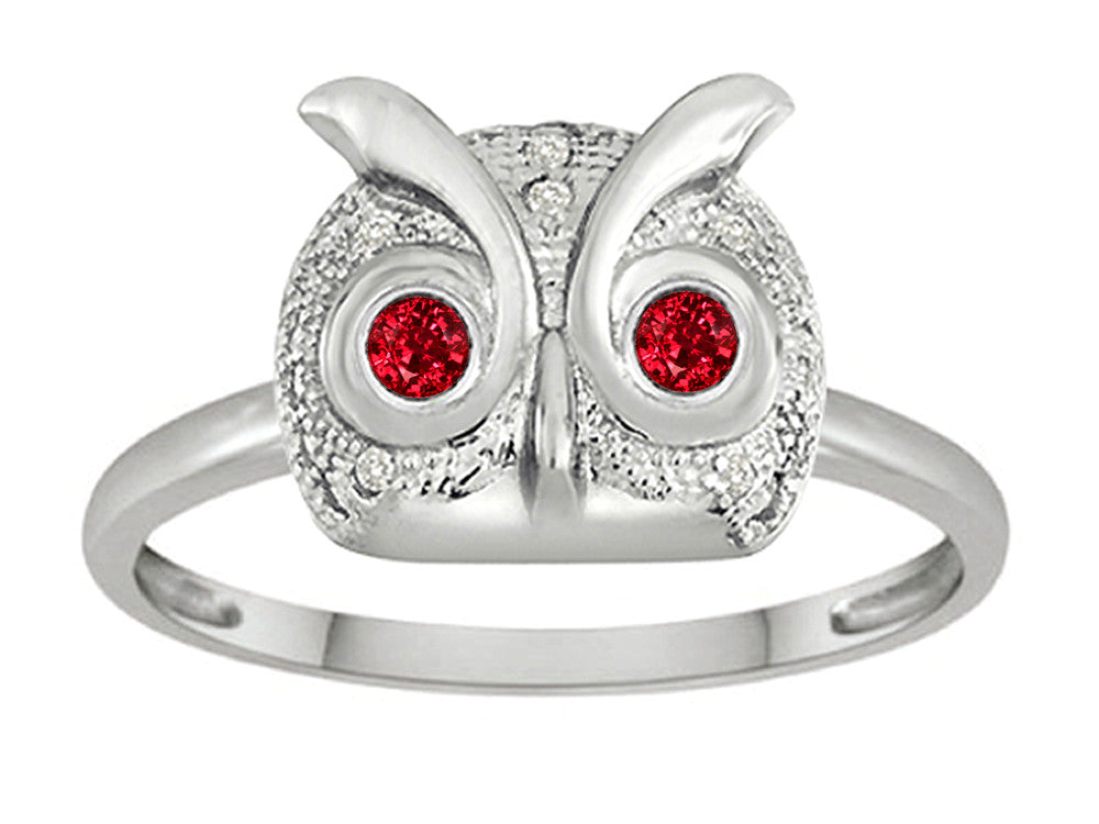 Star K Round Created Ruby Good Luck Owl Ring