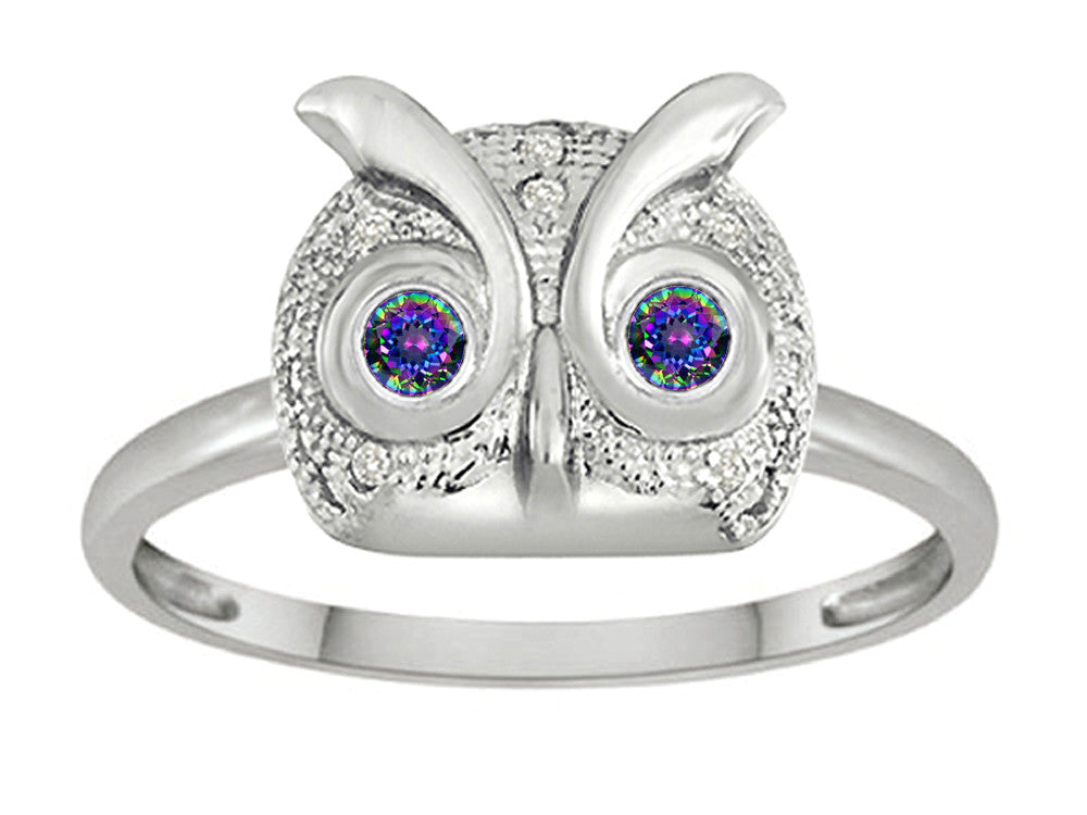 Star K Round Rainbow Mystic Topaz Good Luck Owl Ring