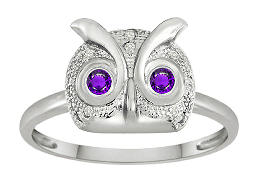 Star K Round Simulated Amethyst Good Luck Owl Ring