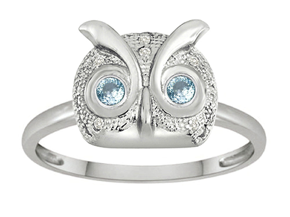 Star K Round Simulated Aquamarine Good Luck Owl Ring