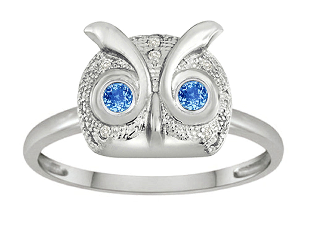 Star K Round Simulated Blue Topaz Good Luck Owl Ring
