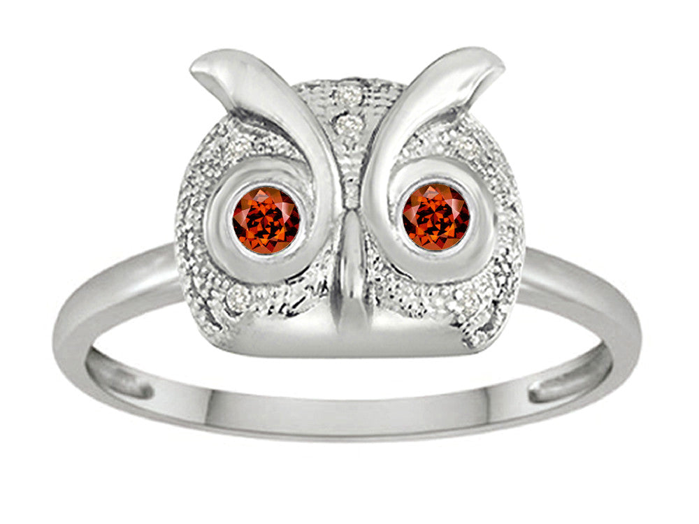 Star K Round Simulated Garnet Good Luck Owl Ring