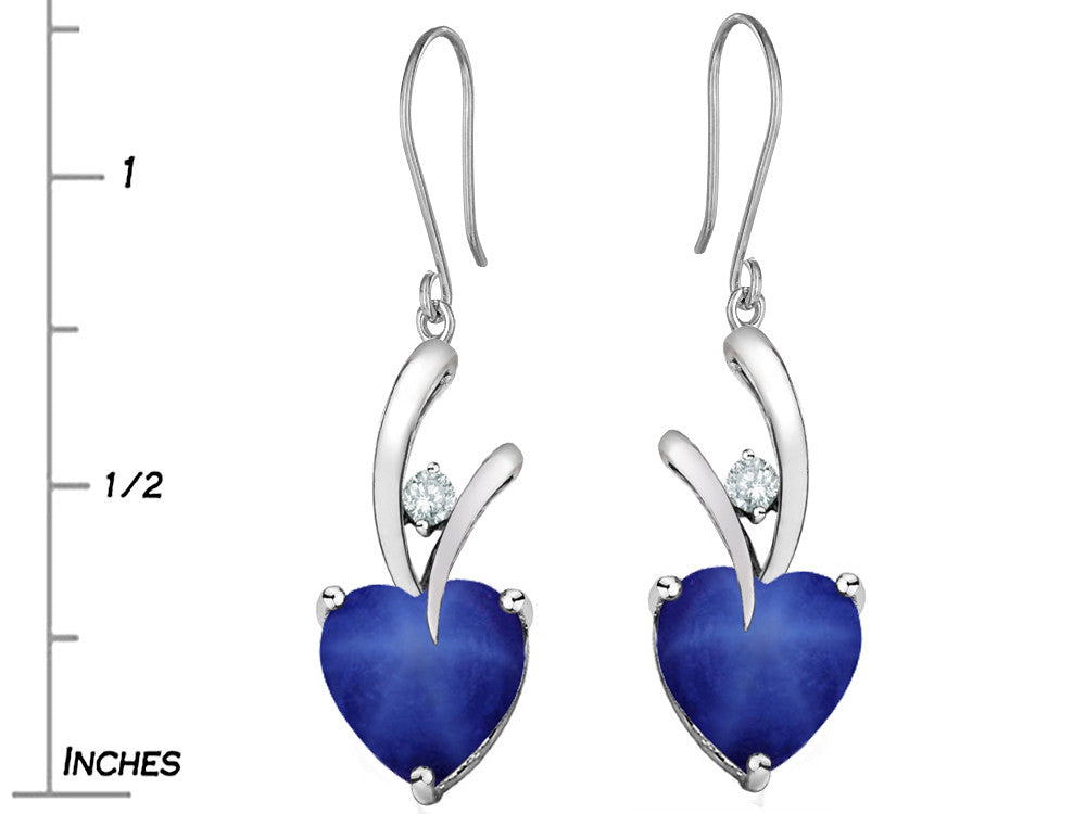 Star K 8mm Heart Shape Created Star Sapphire Hanging Hook Love Earrings
