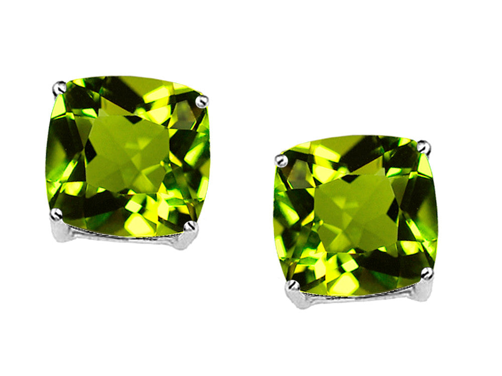 Original Star K 7mm Cushion Cut Genuine Peridot Earrings Studs
