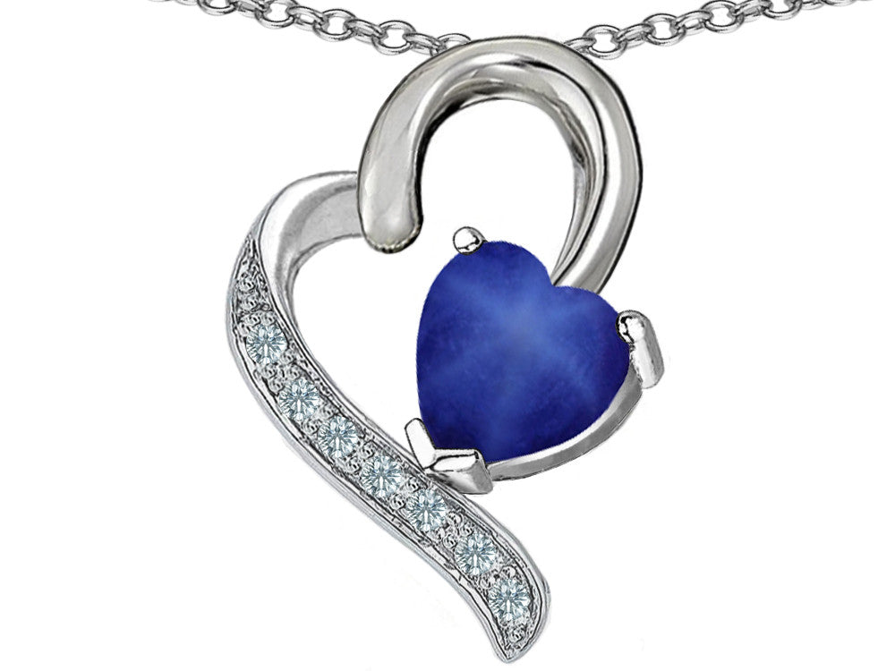 Star K 7mm Heart Shape Created Star Sapphire Heart Pendant Necklace