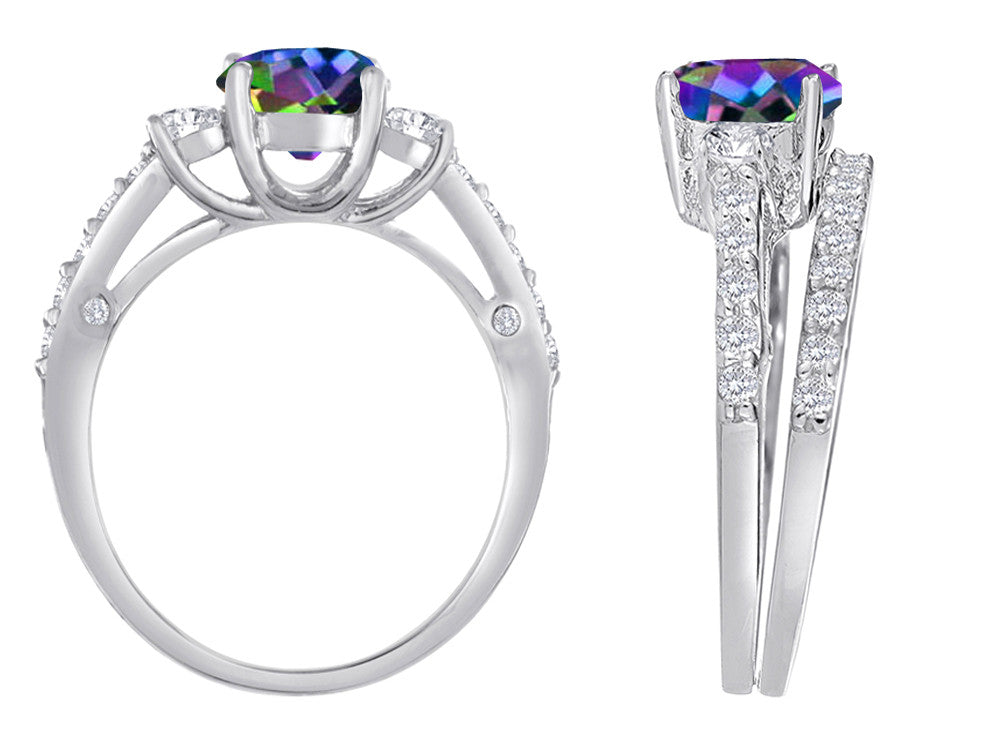 Star K Round Rainbow Mystic Topaz Wedding Set