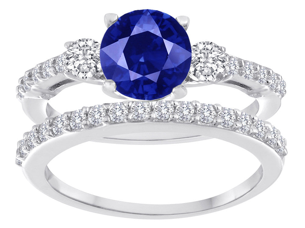 Star K Round Created Sapphire Wedding Set
