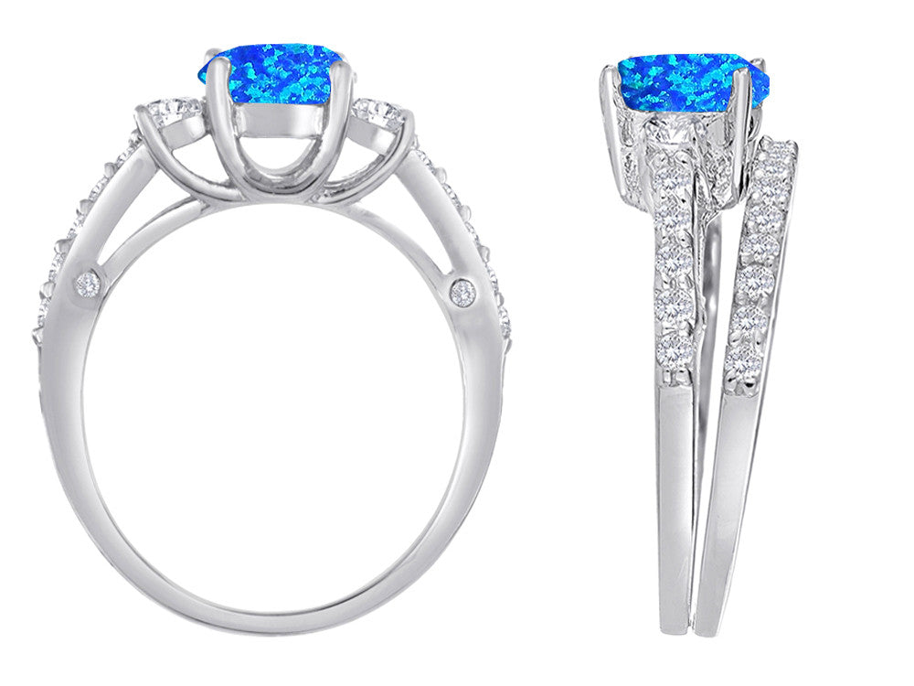 Star K Round Simulated Blue Opal Wedding Set