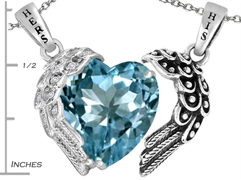 Star K His and Hers winged Love Couple 2pcs Pendant Necklace set with Heart Shape 11mm Simulated Aquamarine